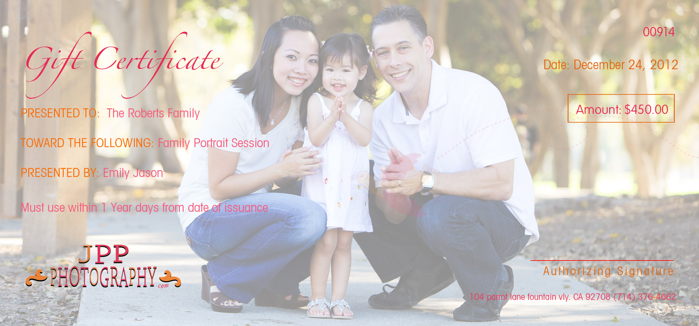 Orange County Christmas Portrait Photography Gift Certificates – Wording for Gift Certificates