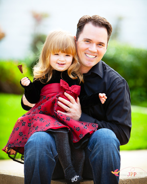Father & Daughter family time holiday portrait in orange county