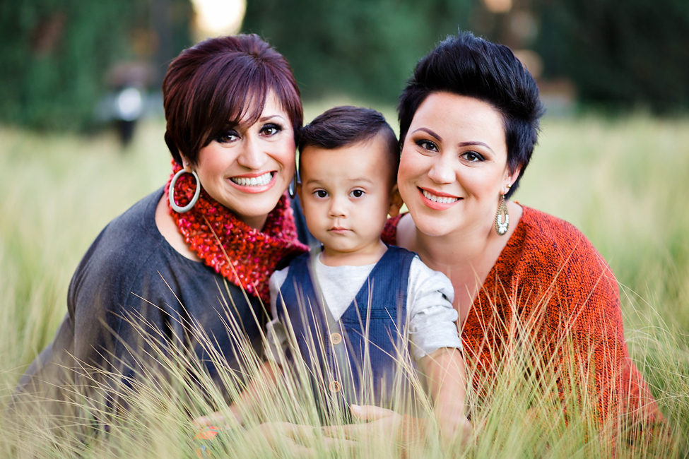 mother and daughter and grandson holiday photo