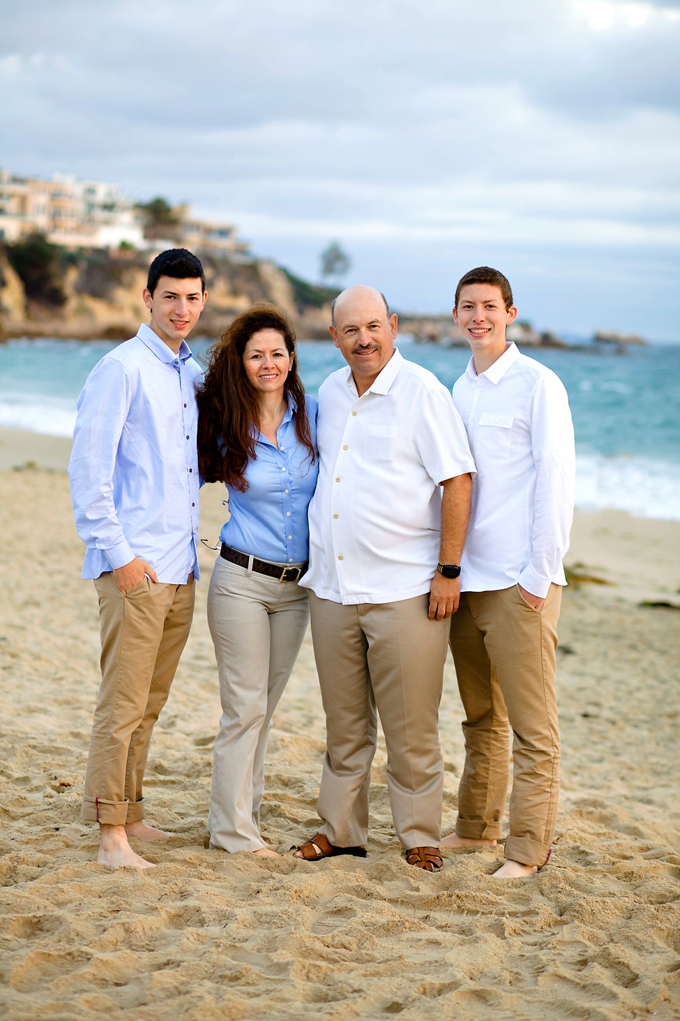 family holiday portraits at the beach