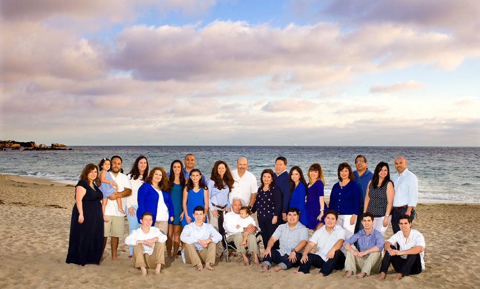 large family posing for holiday photo